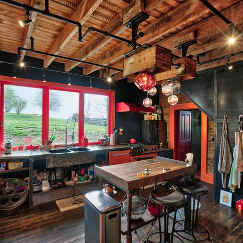 Kitchen Pass-through Accordion Window w/ Counter and Patio