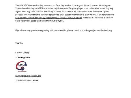 SCVA Tryout Registration