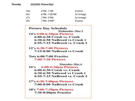May 2021 Fun Schedule