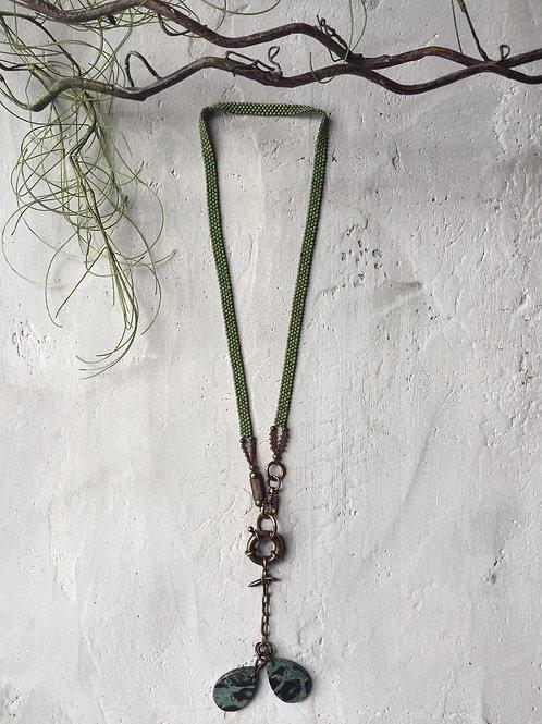 sage woven + jasper necklace