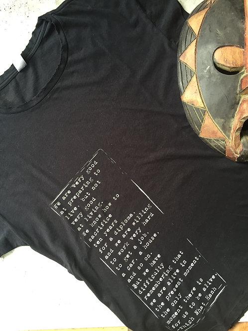 zen quote black t-shirt
