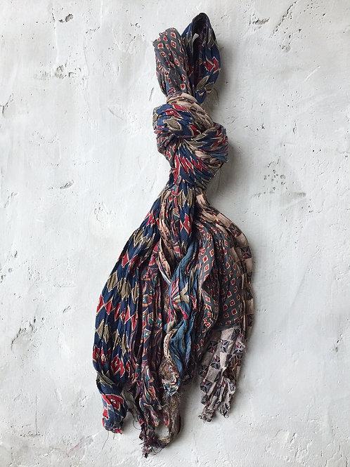 fall long blue green scarf