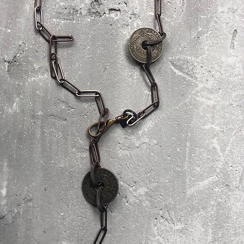 Large rustic metal cross lariat