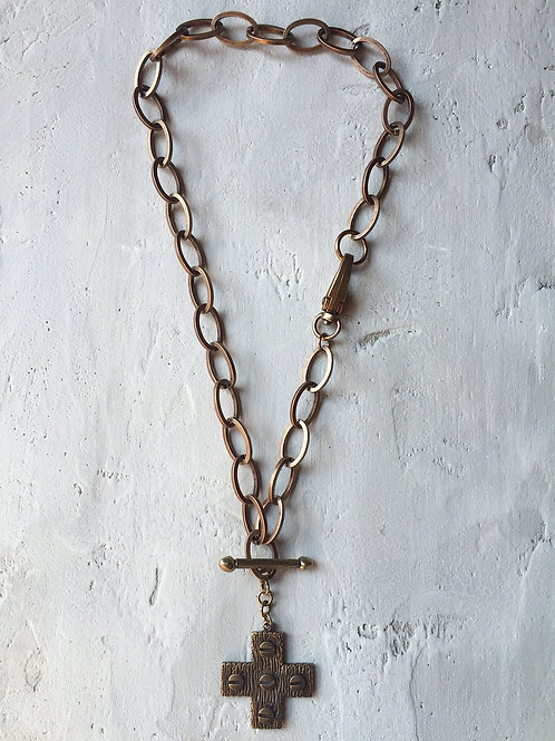 brass heavy chain with cross necklace