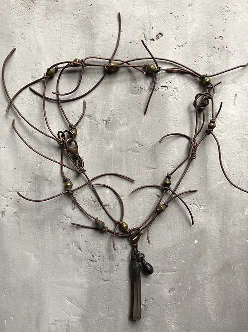Soft gray leather neck piece