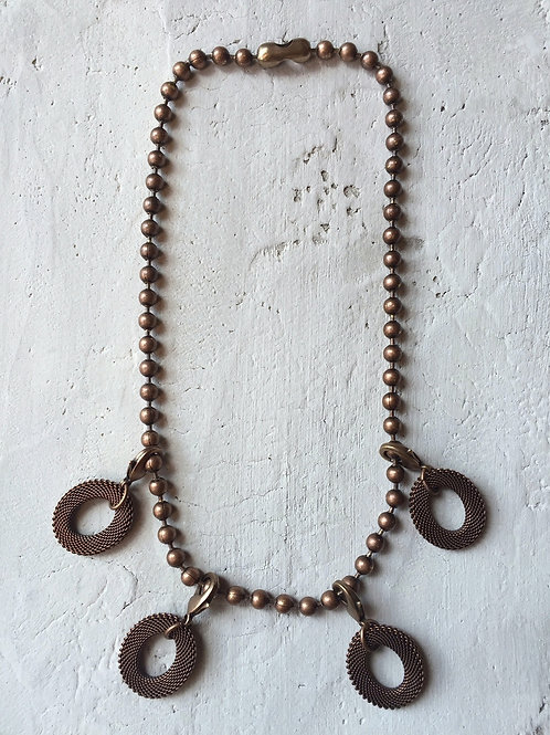 brass small mesh discs necklace