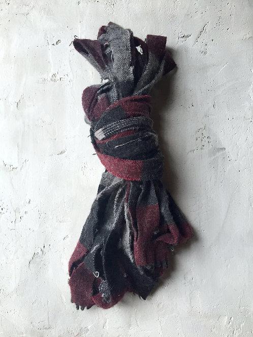 charcoal/grey/burgundy plaid scarf