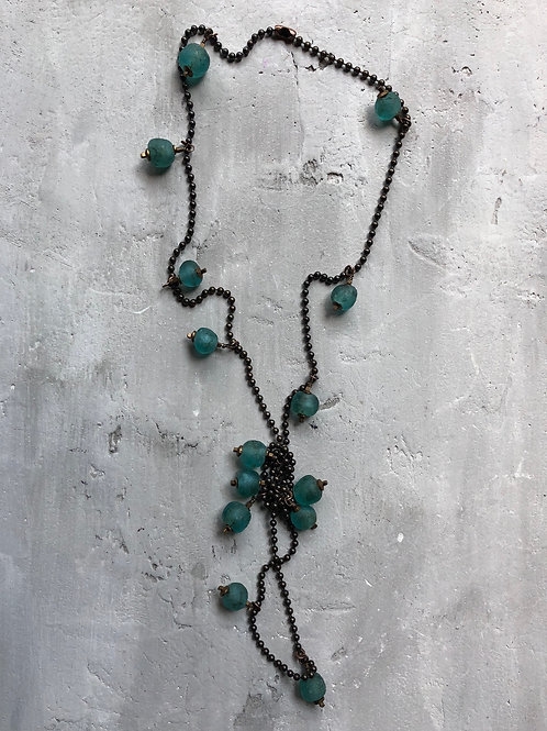 teal recycled glass neck piece