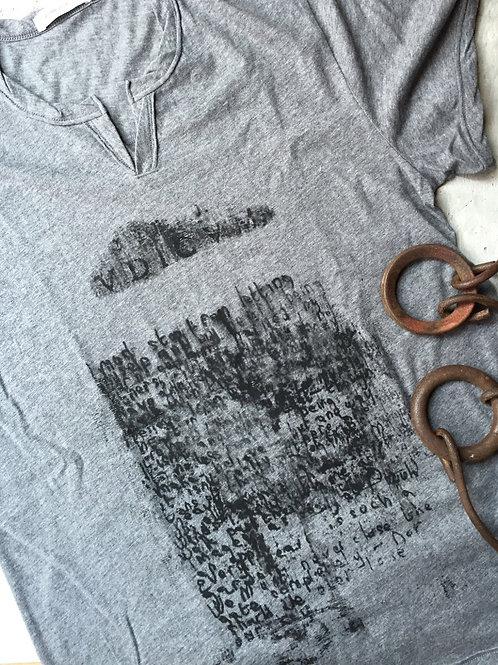 scribble script men's gray t-shirt