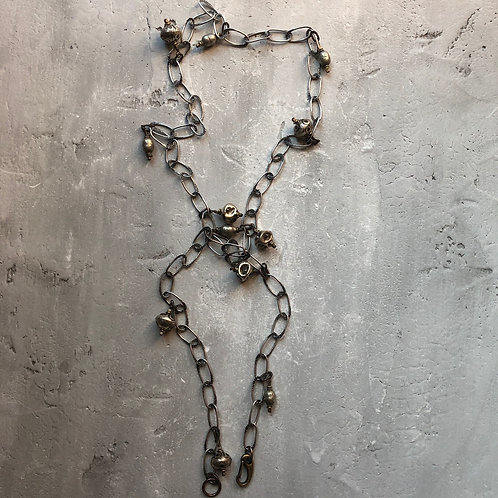Large hammered chain from Bali & Ethiopian prayer beads