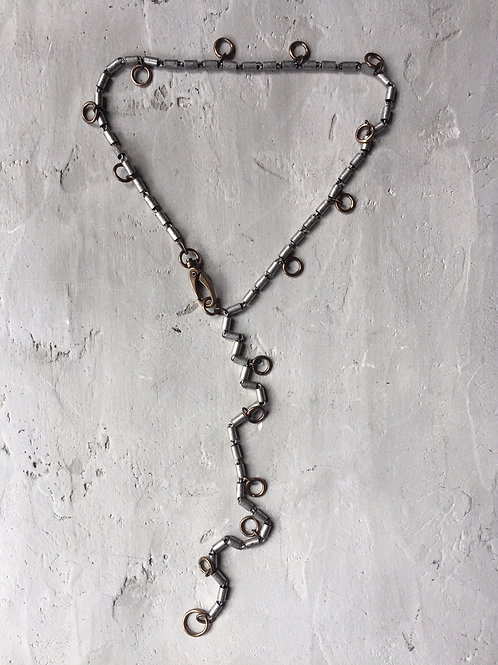 2 tone tubular chain with rings necklace