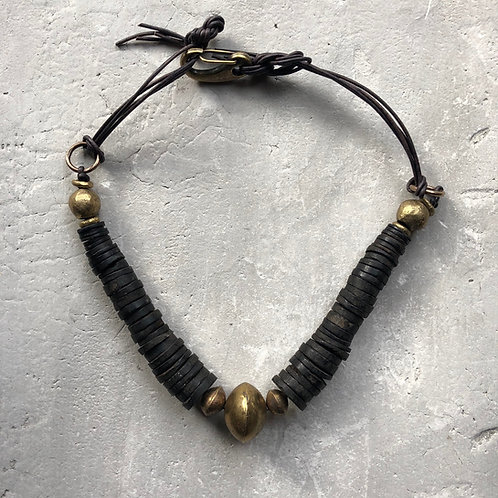 Coconut shell neck piece w/ African brass