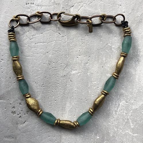 Recycled glass w/flat brass bicone beads