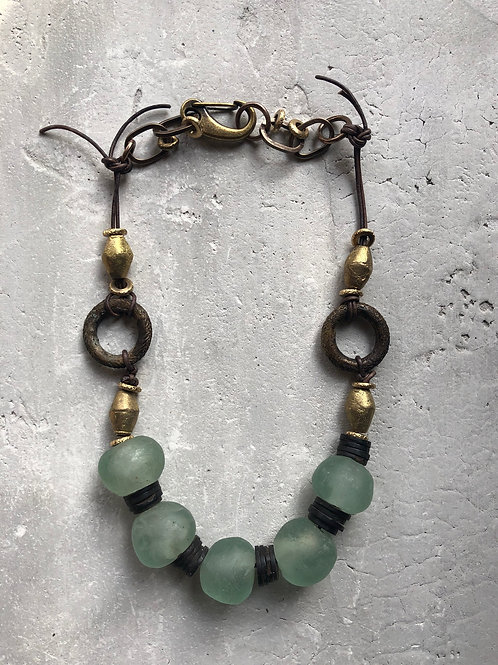 Turquoise recycled glass beads