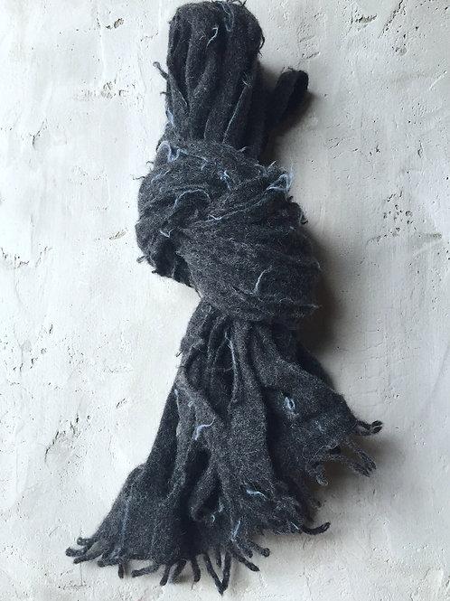 charcoal/blue pinstripe scarf