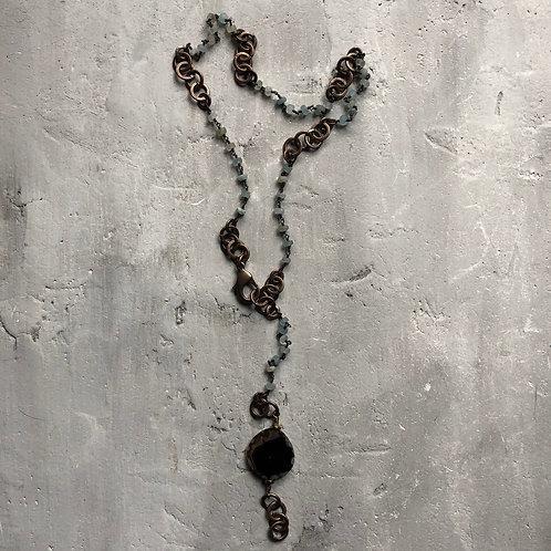 beryl gemstones w/brass links
