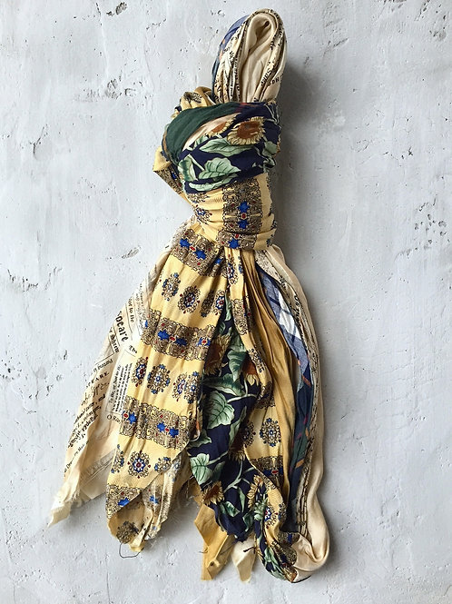spring long gold/blue/green scarf