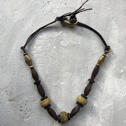 Ebony and Mustard Hebron beads