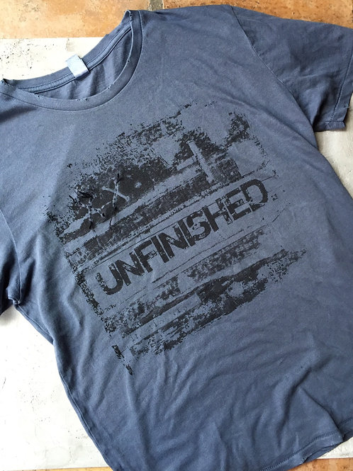 """unfinished"" graphic gray t-shirt"