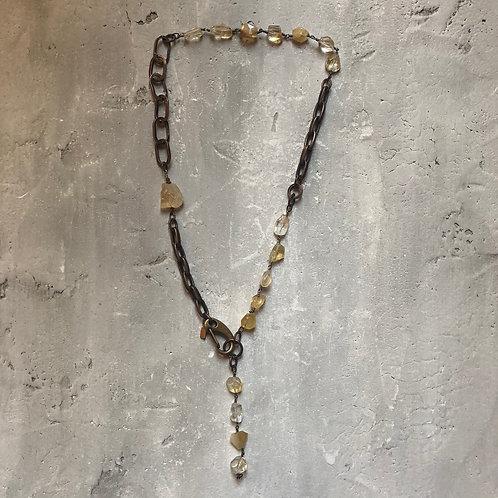 Citrine gemstones on brass links