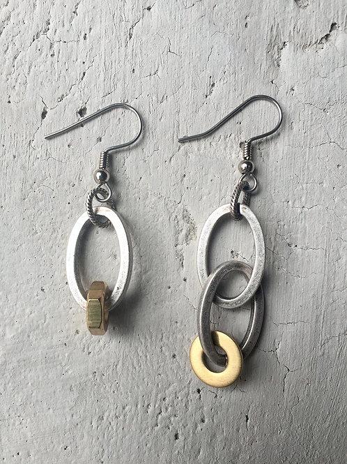 silver oblong earrings