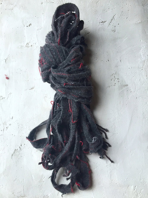 charcoal/red pinstripe scarf