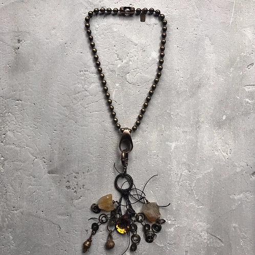 7mm brass ball chain w/waxed linen talisman