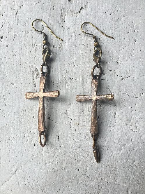 brass cross earrings