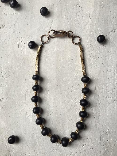 black bone + brass trade bead necklace