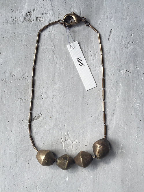 brass chain and hammered beads
