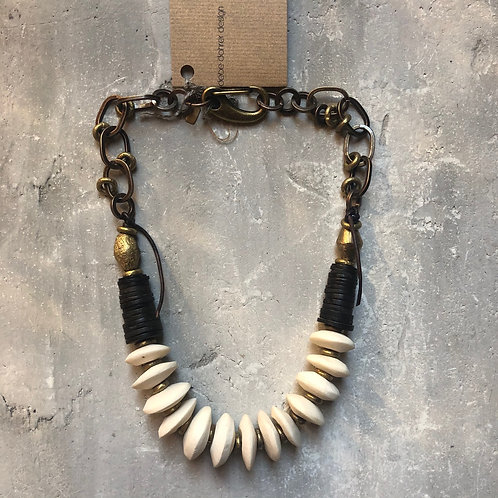 White bone with African brass bicone beads