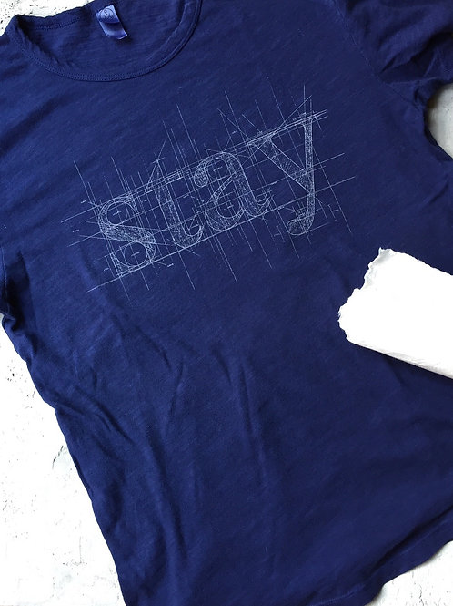 """stay"" blueprint navy t-shirt"