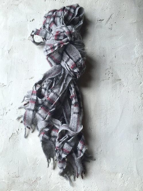 light grey/ burgundy plaid scarf