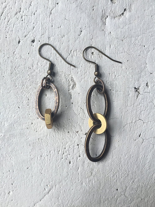 brass oblong earrings