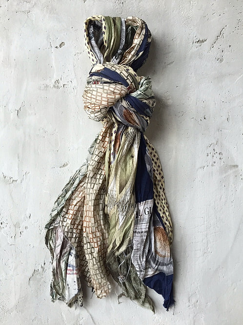 spring long butter/ navy scarf