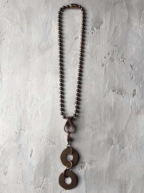 brass double disc necklace