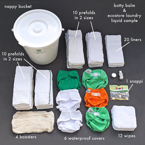 Infant Prefold Hire Kit (10 Week Hire). New Zealand-wide.