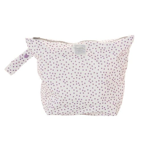 Zippered Wet Bag - Purple dots