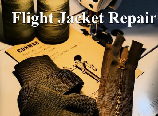 フライトジャケットのリペア作業