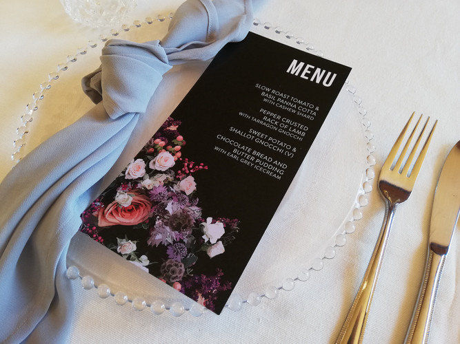 Floral invitation and place setting