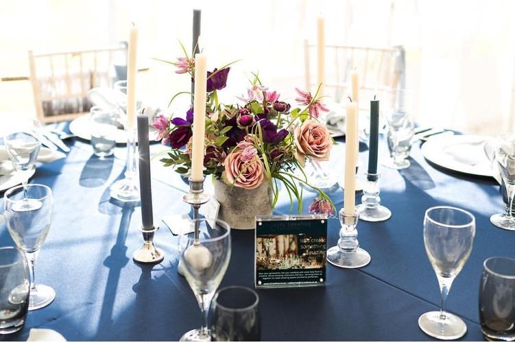 Blue linen table setting