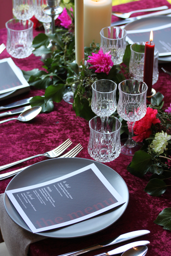Red table place setting