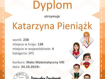Katarzyna Pieniążk - IV miejsce w województwie