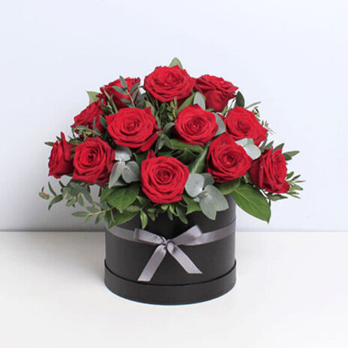 Red Rose Valentines Hat Box