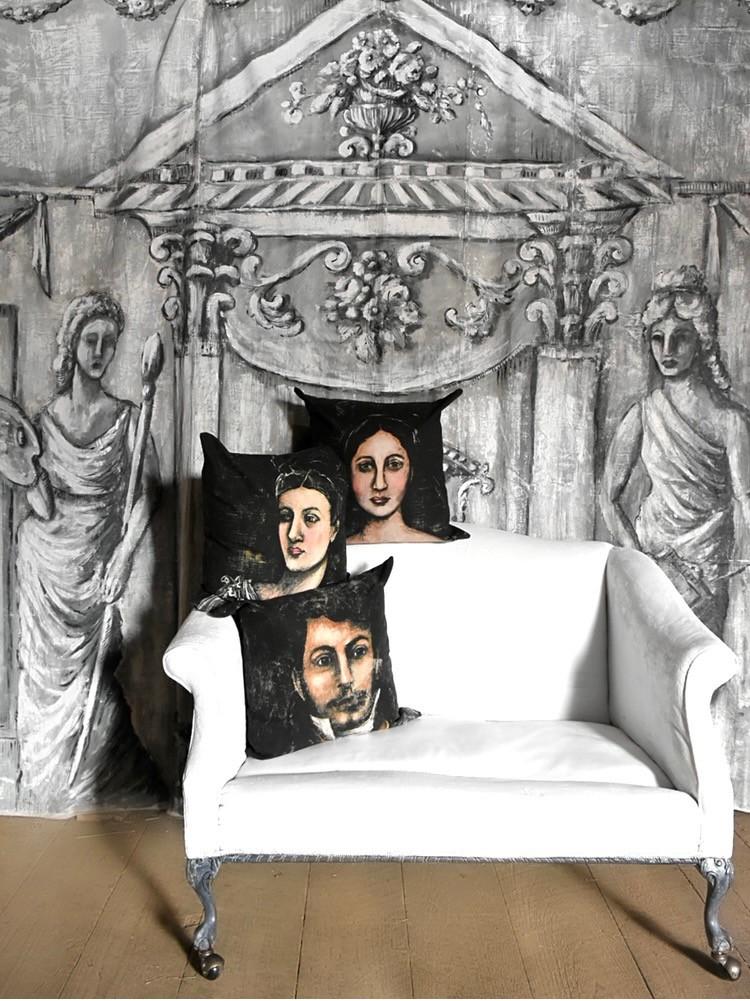 Antique inspired portrait pillows produced by artist Jennifer Lanne  for Decorum