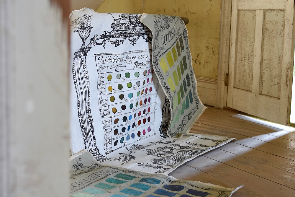 Artist Jennifer Lanne swatch paint charts at the Dr. Oliver Bronson House in Hudson, New York