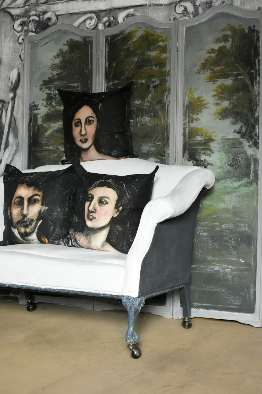 Antique inspired portrait pillows produced by Jennifer Lanne artist  for Decorum