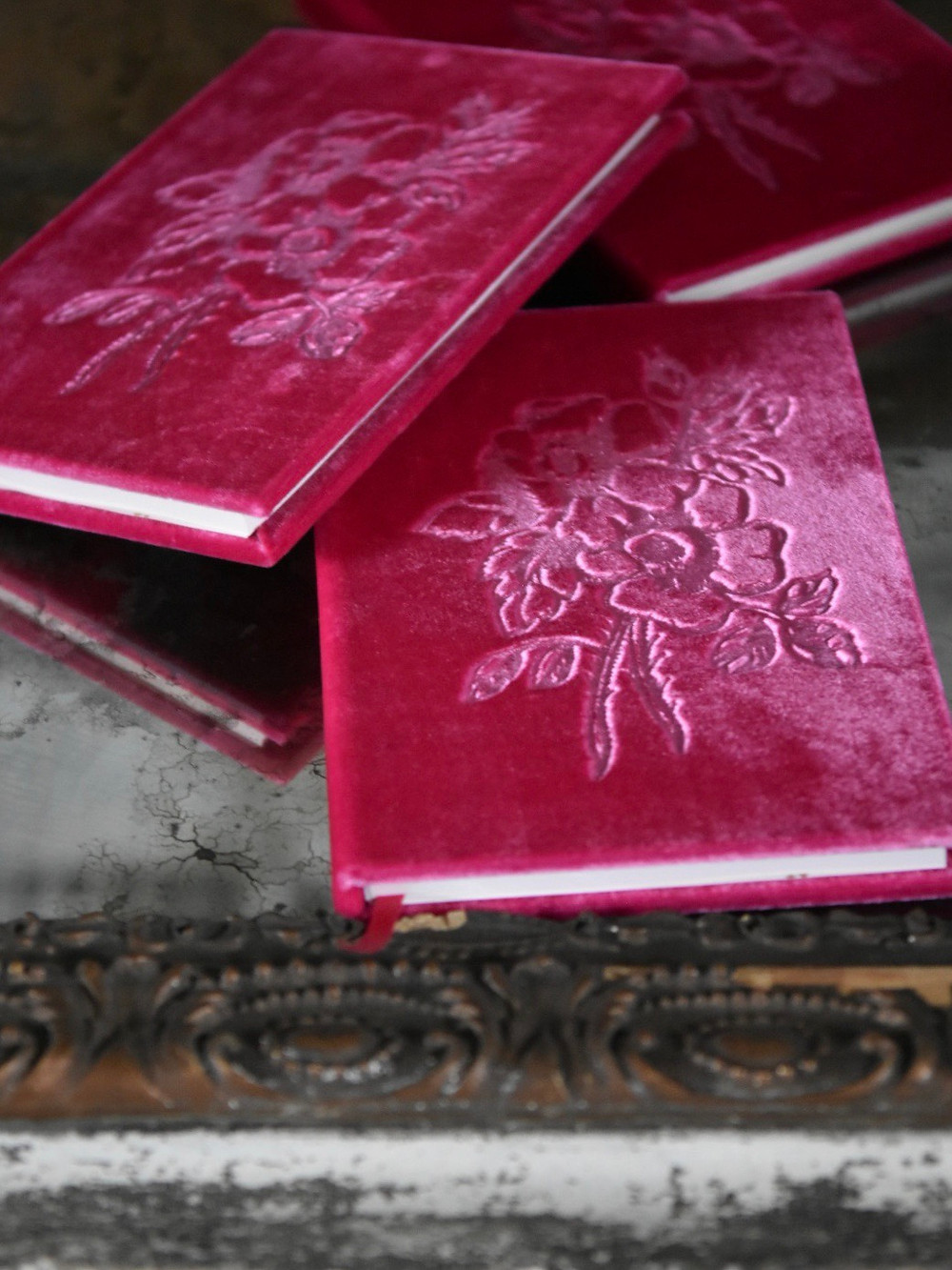 Silk velvet rose embossed books by artist Jennifer Lanne