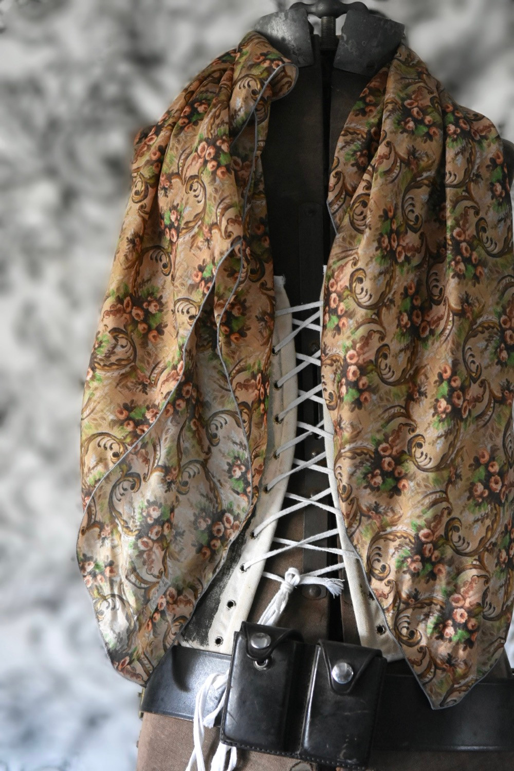 Silk Scarf with vintage french wallpaper inspired design by artist Jennifer Lanne for Decorum
