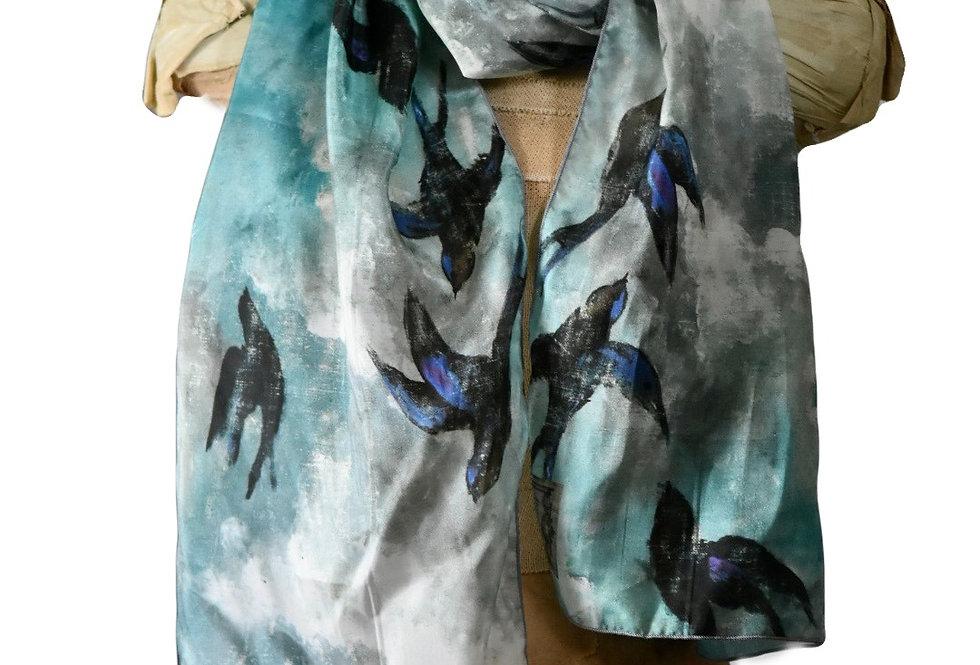 Bluebirds Silk Scarf
